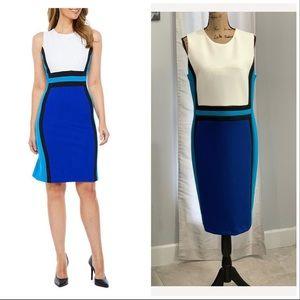 Calvin Klein blue white colorblock sheath 16W